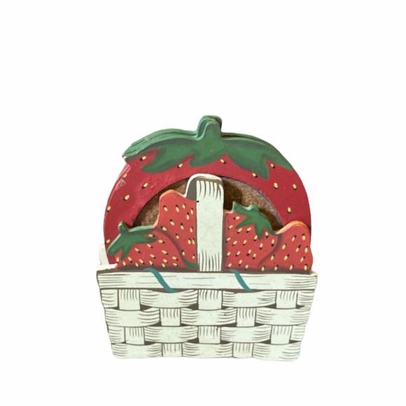 Vintage Strawberry set of 4 Coasters